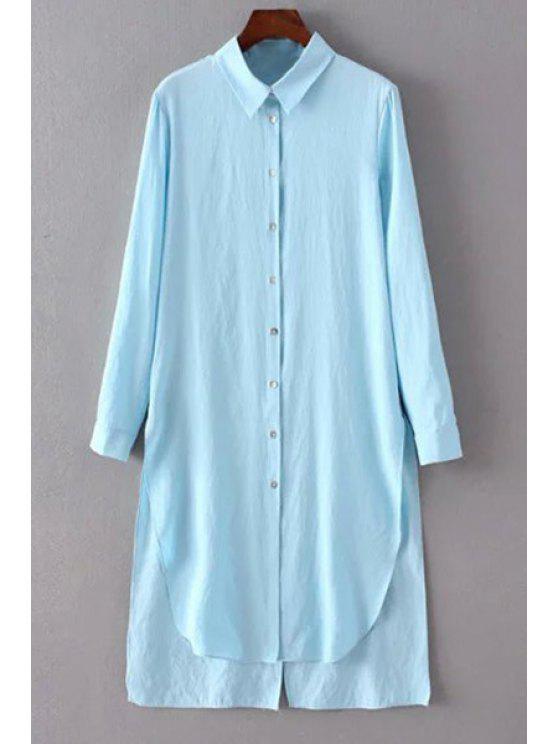 Solid Color-Seiten-Schlitz-Hemd-Kragen Langarm-Shirt - Hellblau L
