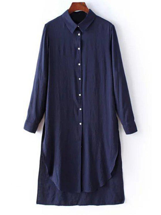 best Solid Color Side Slit Shirt Collar Long Sleeve Shirt - PURPLISH BLUE L