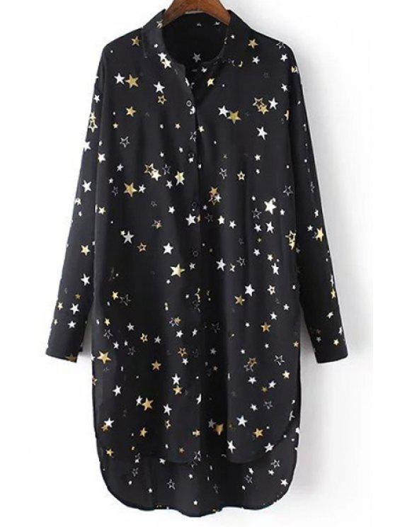 affordable Loose Stars Print Turn-Down Collar Long Sleeve Chiffon Shirt - BLACK M