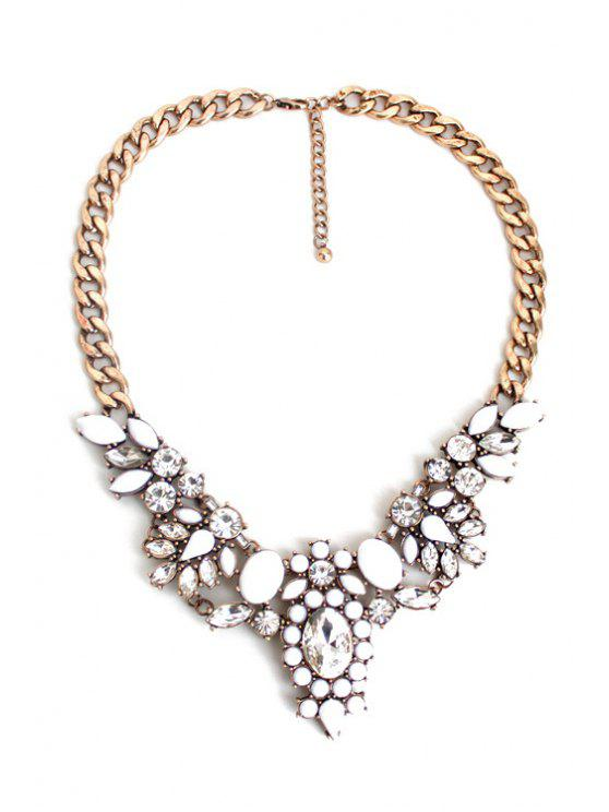 sale Faux Crystal Floral Necklace - GOLDEN