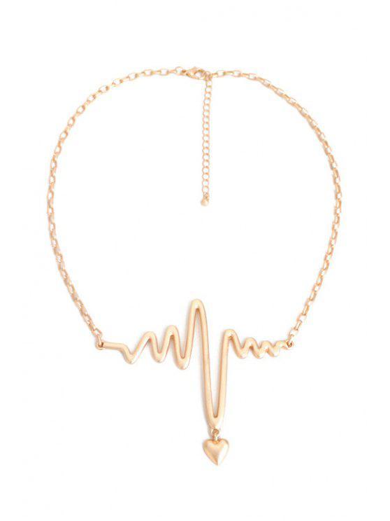 fancy Electrocardiogram Heart Shape Necklace - GOLDEN