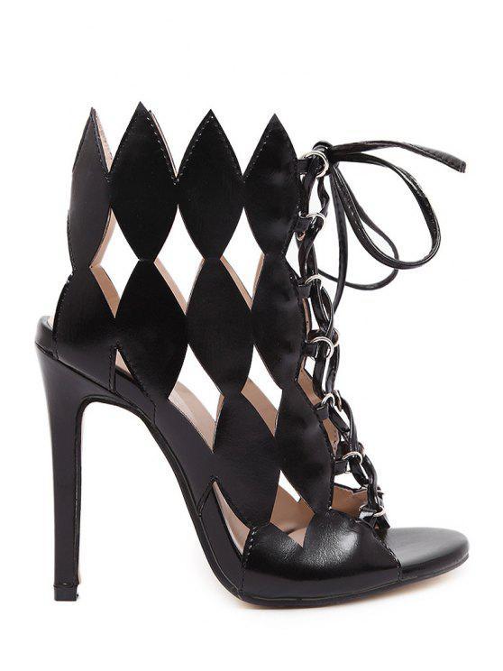 1a73ba009abd Geometric Hollow Out Lace-Up Sandals - Black 40