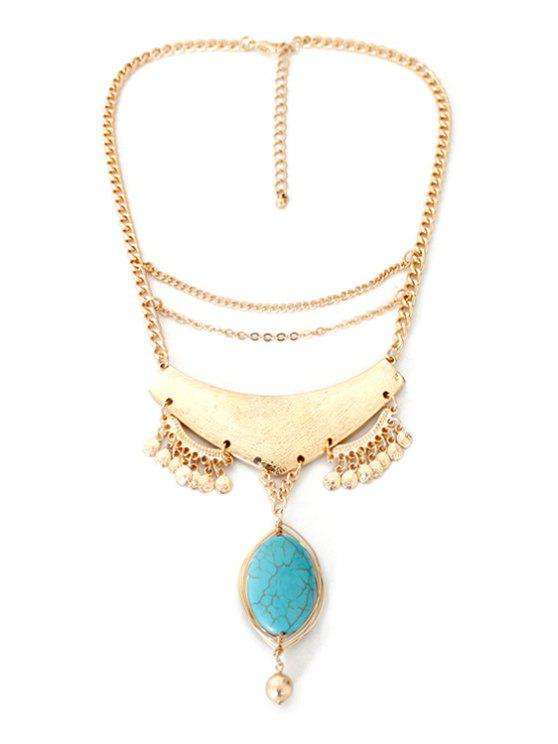 trendy Oval Faux Turquoise Pendant Necklace - GOLDEN