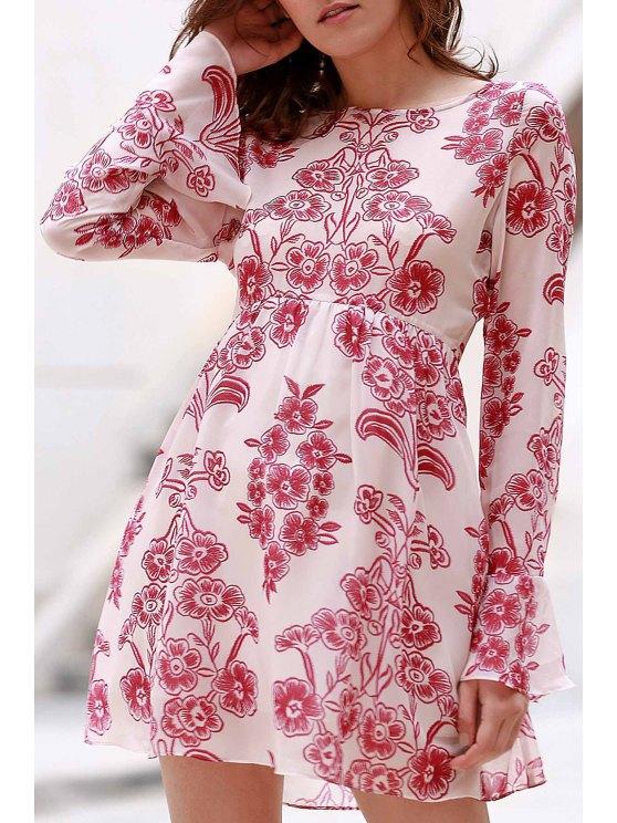 Vestido con Cintura Alta con Estampado Floral Vintage - Rosa XL
