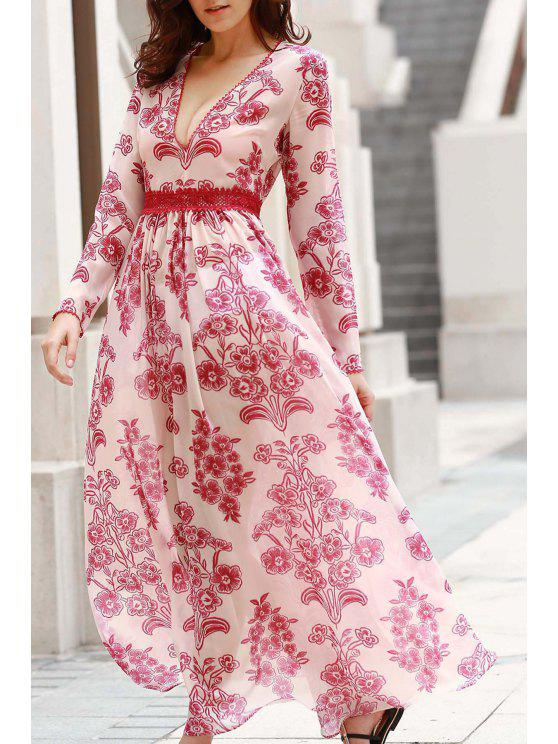 fancy Deep V Neck Flower Print Long Dress - RED WITH WHITE S