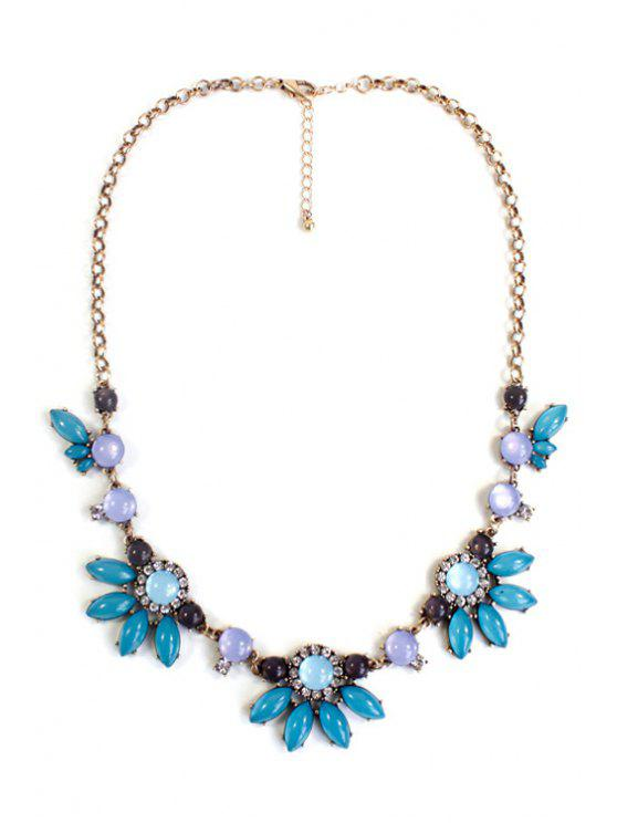 hot Floral Faux Gemstone Necklace - GREEN