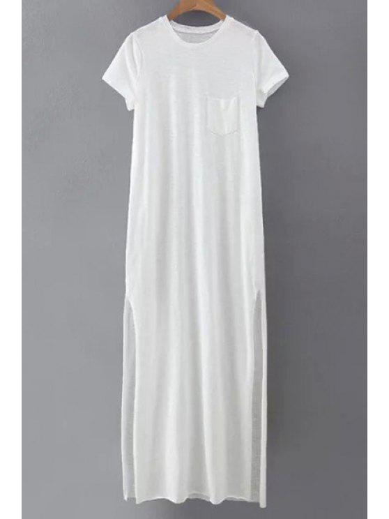 7cd8f0220c66 35% OFF  2019 Side Slit Round Neck Short Sleeve Maxi Dress In WHITE ...