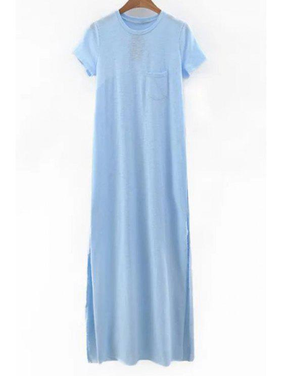 lady Side Slit Round Neck Short Sleeve Maxi Dress - LIGHT BLUE L
