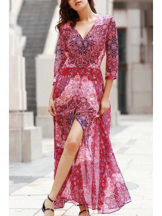 V-Neck Single-Breasted Vestido Maxi - Vermelho XL
