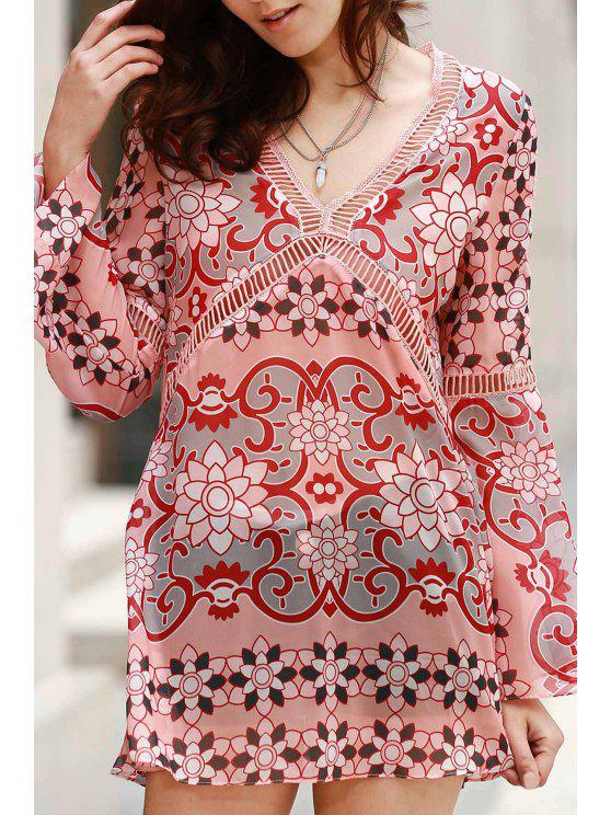 V-Neck Flare Sleeve Tunic Dress - Cor Mistura XL