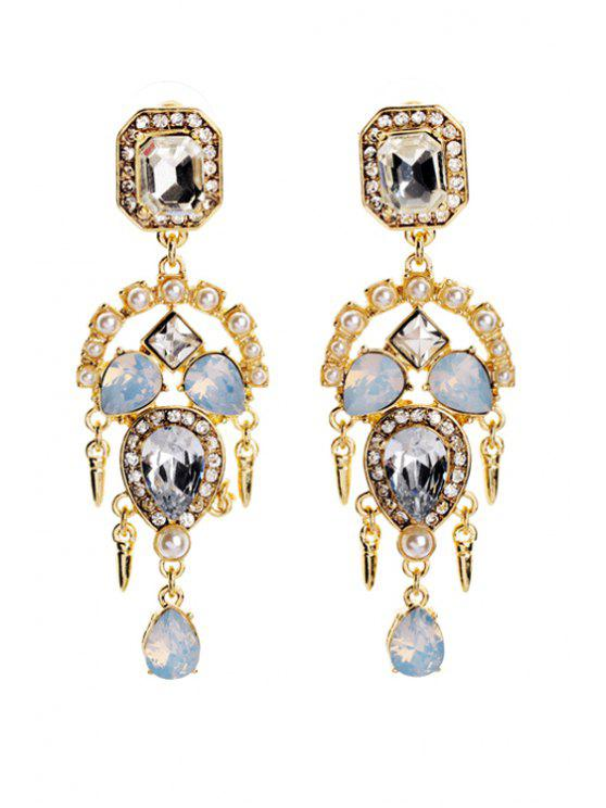 chic Faux Crystal Decorated Earrings - GOLDEN