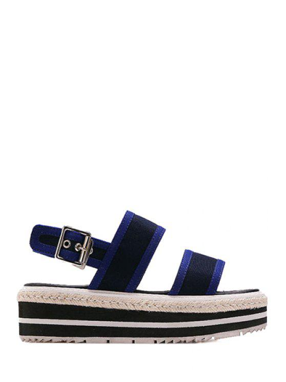 chic Color Block Cloth Platform Sandals - BLUE 37