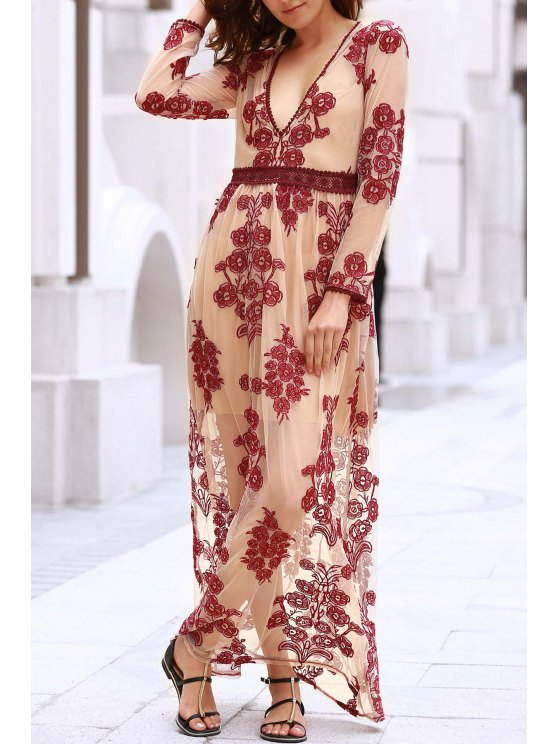 outfit Floral Embroidery Plunging Neckline Maxi Dress - WINE RED L