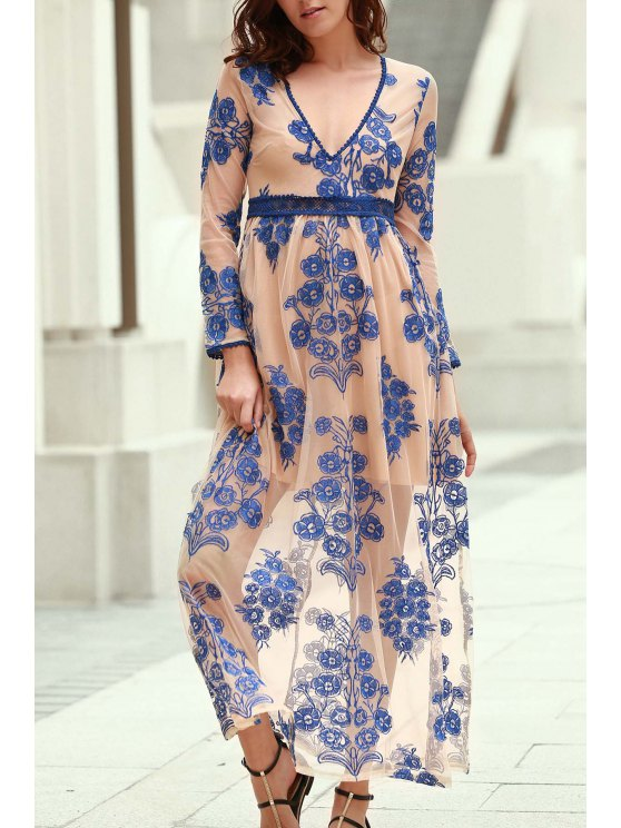 online Floral Embroidery Plunging Neckline Maxi Dress - BLUE L