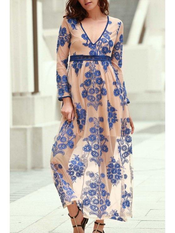 Floral broderie Plongeant Long Neck Maxi Dress - Bleu L