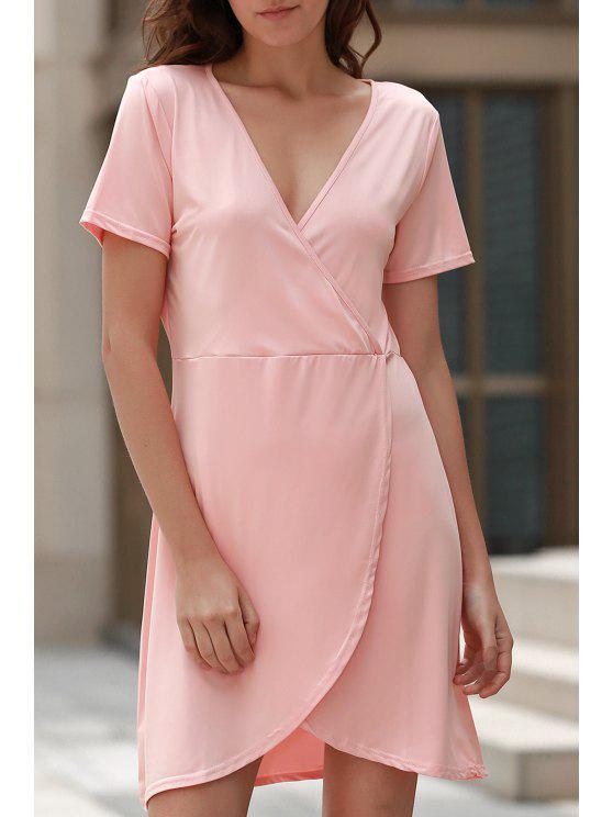 Vestido de manga corta de cuello del color sólido del dobladillo irregular V - Rosa M