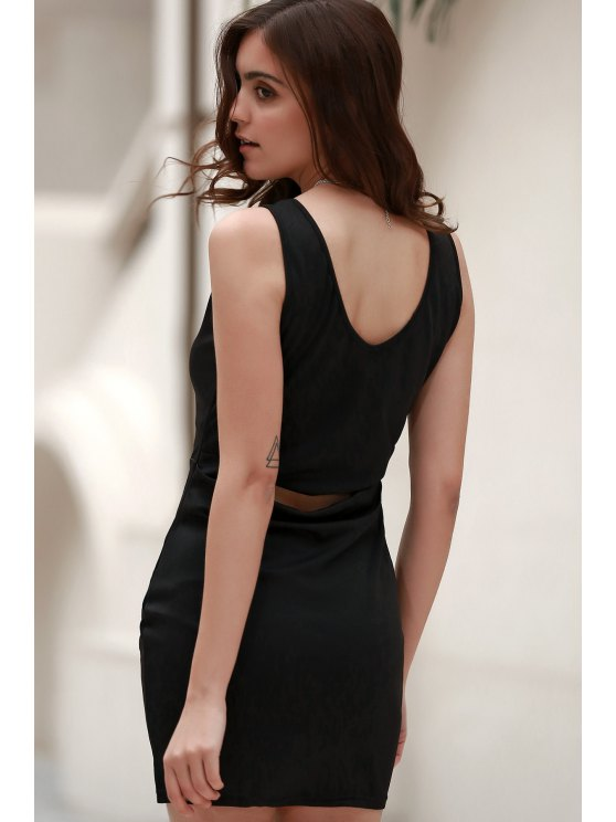 outfit Black Packet Buttock Plunging Neck Sleeveless Dress - BLACK S