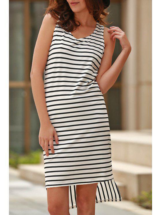 women Striped High Low Scoop Neck Sleeveless Dress - BLACK XL