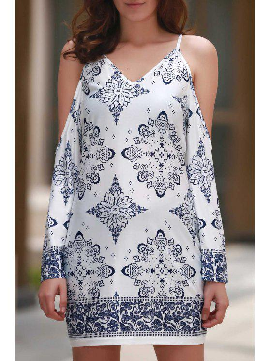Cut-Out Floral Print V Neck Dress - Blanc L