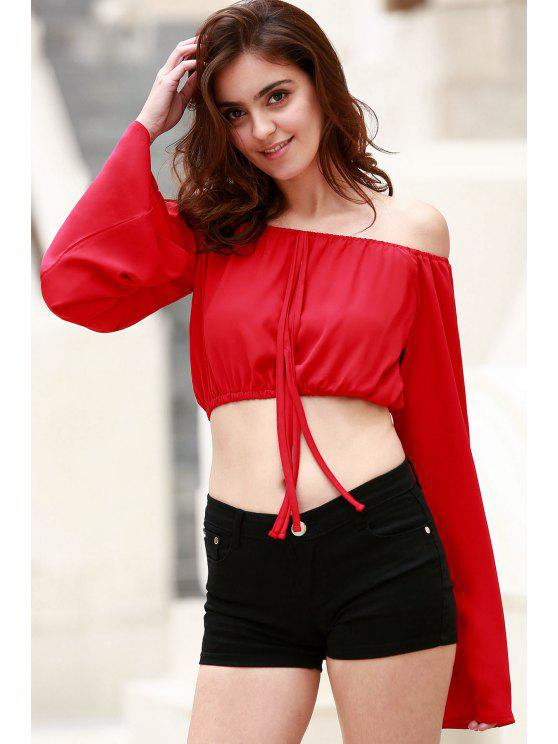 fashion Off The Shoulder Boat Neck Puff Sleeve Chiffon Crop Top - RED M