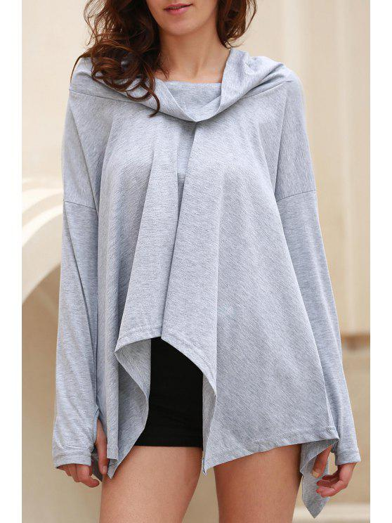 Cuello de la capucha dobladillo irregular de la camiseta - Gris M