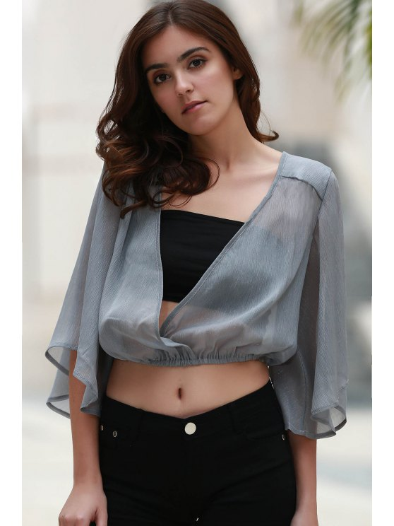 new Flare Sleeve Cropped Chiffon Top - GRAY S
