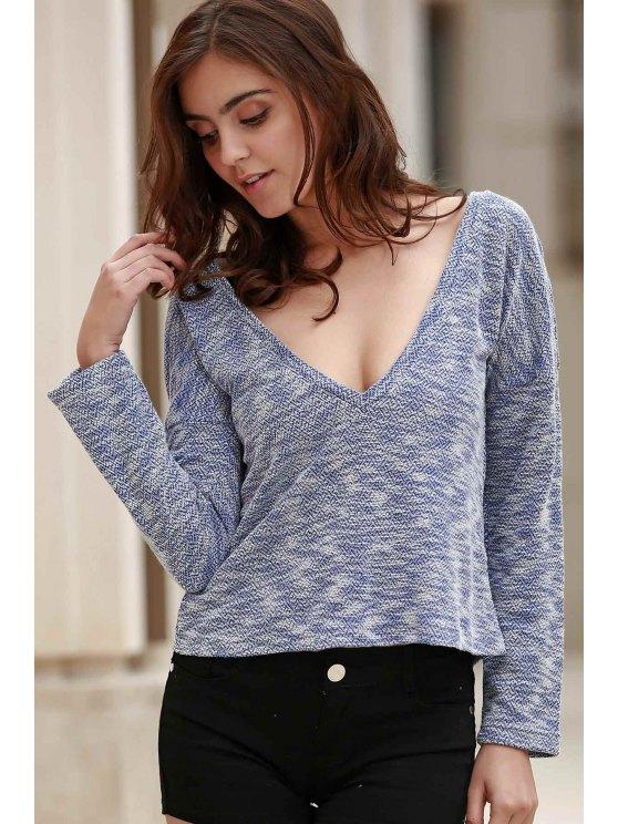Drapé Sleeve Knit T-shirt - Bleu XL