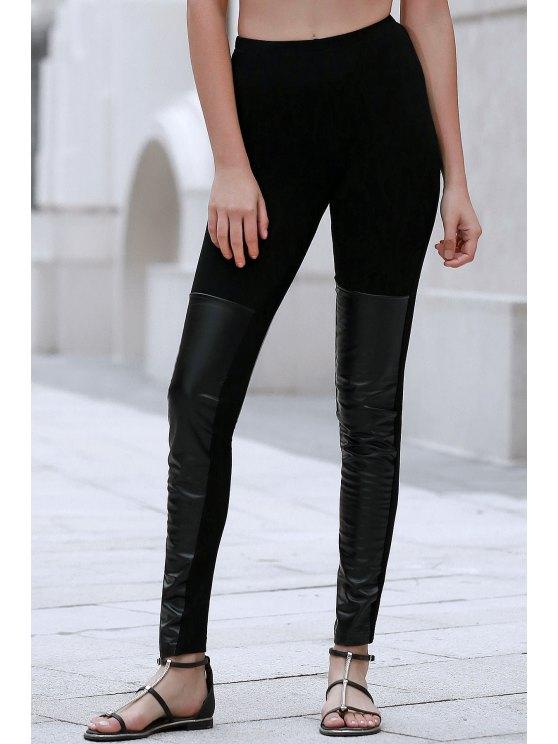 Empalmado PU Negro Leggings - Negro XL