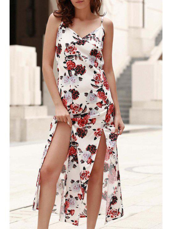lady Combined Lace Floral Print Maxi Dress - WHITE S