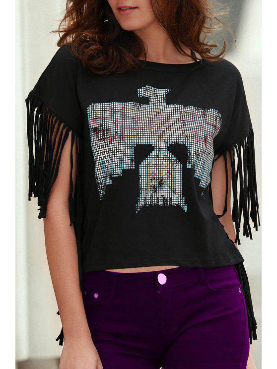 fashion Fringed Sleeve Square Cut T-Shirt - BLACK M