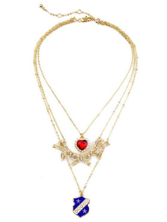 chic Chic Multi-Layered Bowknot Heart Necklace - GOLDEN