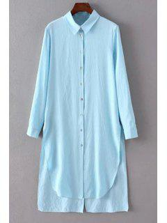 Solid Color Side Slit Shirt Collar Long Sleeve Shirt - Light Blue M
