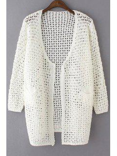 Loose Hollow Out Collarless Long Sleeve Cardigan - White
