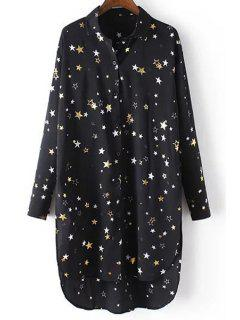Loose Stars Print Turn-Down Collar Long Sleeve Chiffon Shirt - Black M