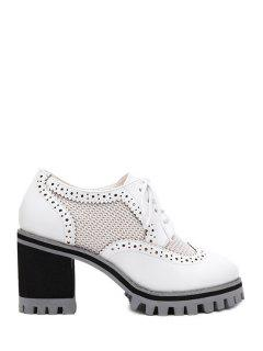 Lace-Up Mesh Engraving Pumps - White 39