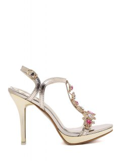 Colorful Rhinestone T-Strap Stiletto Heel Sandals - Golden 39