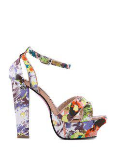Cross-Strap Platform Print Sandals - Green 37