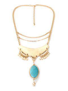 Oval Faux Turquoise Pendant Necklace - Golden