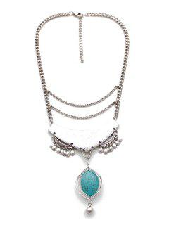 Oval Faux Turquoise Pendant Necklace - White Golden