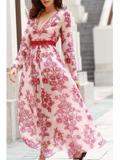 Deep V Neck Flower Print Long Dress - Red With White S