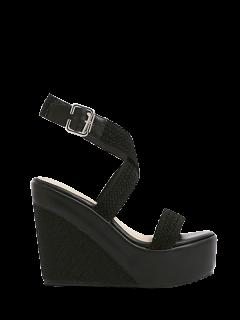 Weaving Cross-Strap Wedge Heel Sandals - Black 39