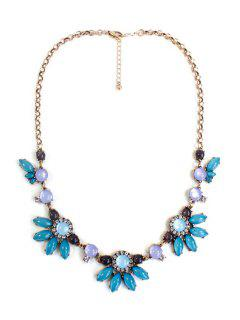 Floral Faux Gemstone Necklace - Green