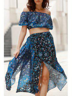 Off-The-Shoulder Crop Top + Printed Midi Skirt Twinset - Blue Xl