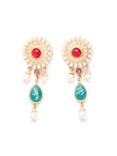 Pair Of Stylish Faux Pearl Sun Flower Earrings - Golden