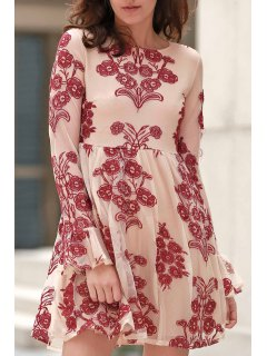Long Sleeve Embroidered Mini Tulle Dress - Wine Red L