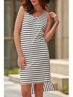 Striped High Low Scoop Neck Sleeveless Dress - Black Xl