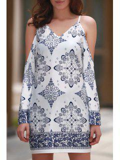 Recorte De La Impresión Floral Del Vestido Del Cuello V - Blanco M