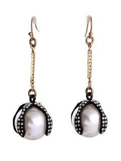 Chic Faux Pearl Decorated Drop Earrings - Golden