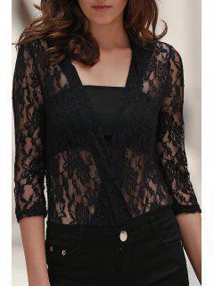 Crochet Flower See-Through Bodysuit - Black 2xl