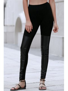 PU Leather Spliced Black Leggings - Black 2xl